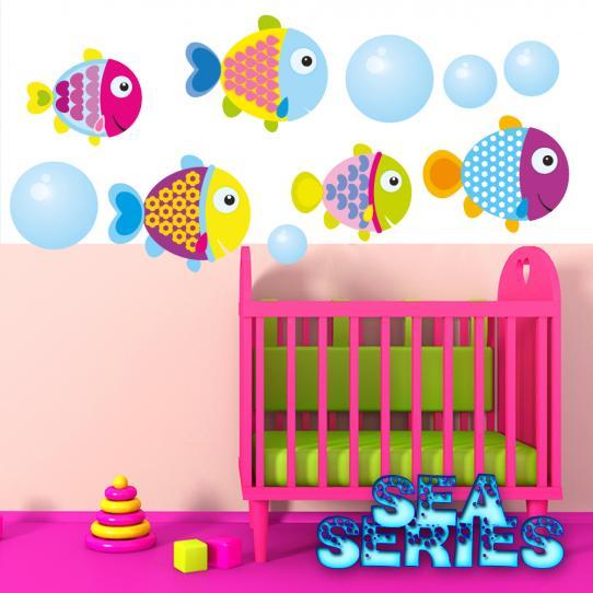 Autocollant Stickers mural enfant kit 5 poissons et 5 bulles