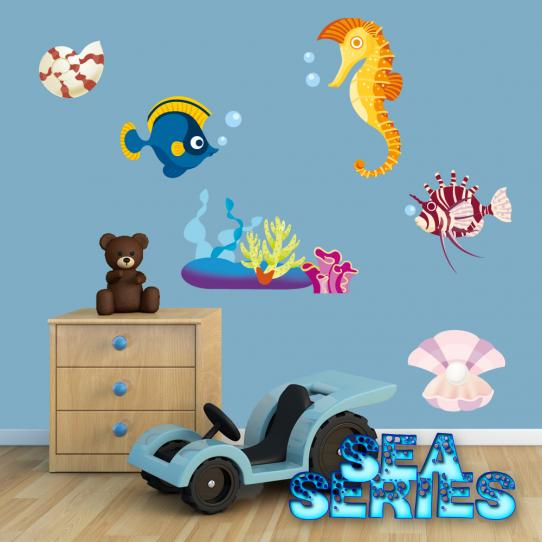 Autocollant Stickers muraux enfant kit 5 poissons et coquillages