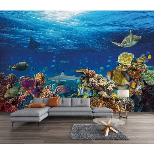 papier peint mer poissons des prix 50 moins cher qu 39 en. Black Bedroom Furniture Sets. Home Design Ideas