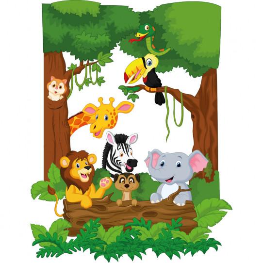 stickers animaux de la jungle des prix 50 moins cher qu 39 en magasin. Black Bedroom Furniture Sets. Home Design Ideas