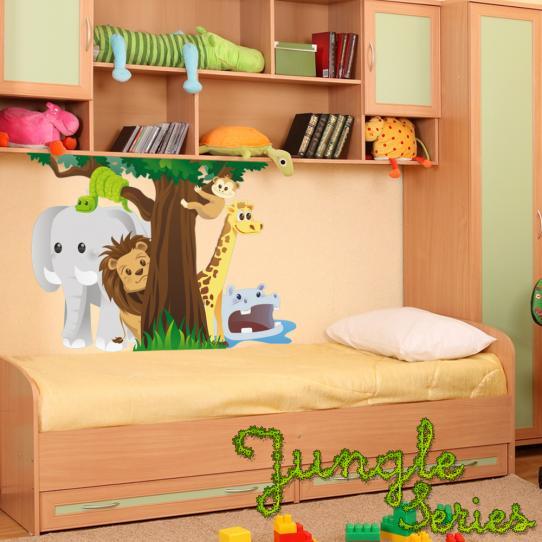 Autocollant Stickers muraux enfant arbre animaux