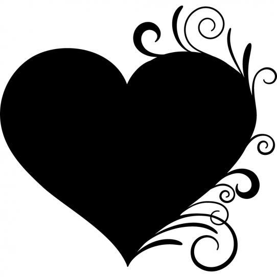 Stickers ardoise coeur ornement