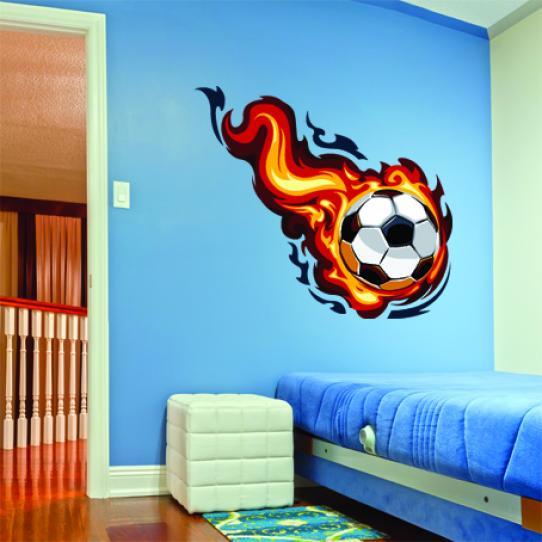 Stickers ballon de foot en feu