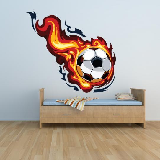 Autocollant Stickers muraux ado ballon de foot en feu