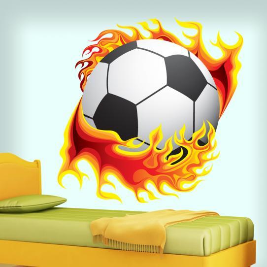 Autocollant Stickers mural ado ballon de foot en flamme