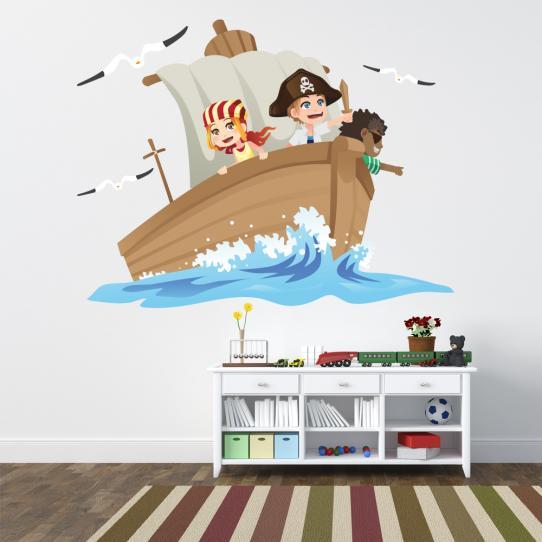 Autocollant Stickers muraux enfant bateau pirate