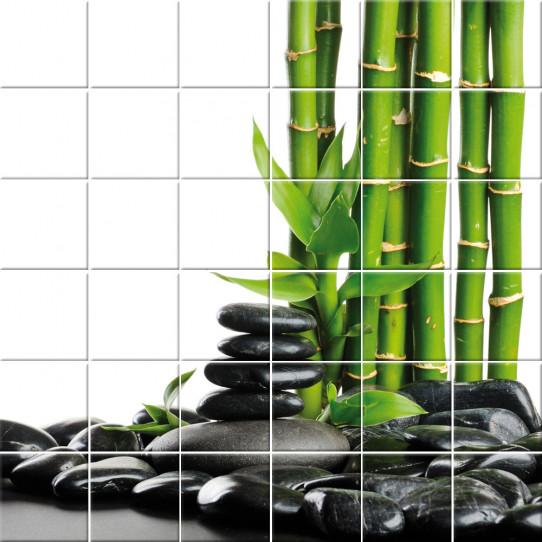 stickers carrelage bambou galets des prix 50 moins cher qu 39 en magasin. Black Bedroom Furniture Sets. Home Design Ideas