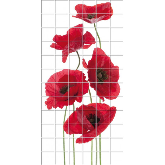Stickers carrelage coquelicot