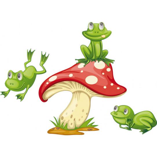 Autocollant Stickers enfant champignon grenouille