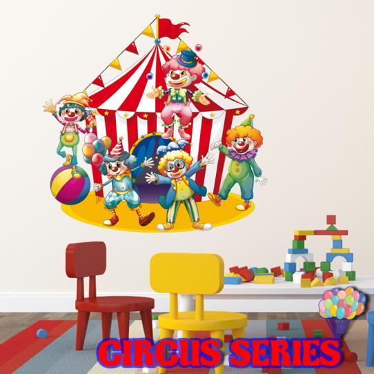 Autocollant Stickers mural enfant chapiteau et clowns