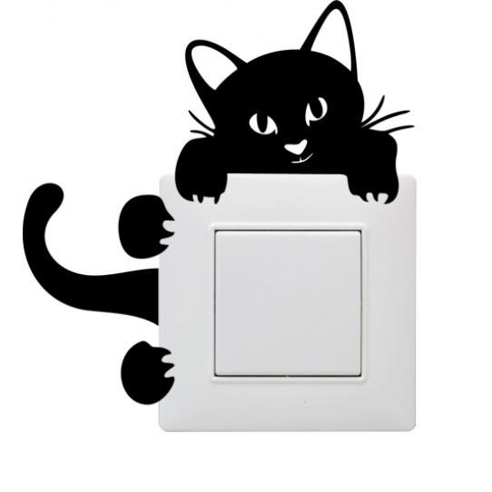 Sticker mural pour Prise et interrupteur chat