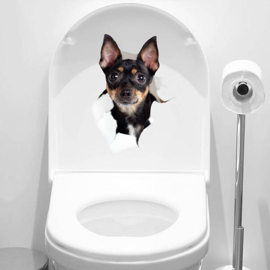 stickers adhésif wc chien