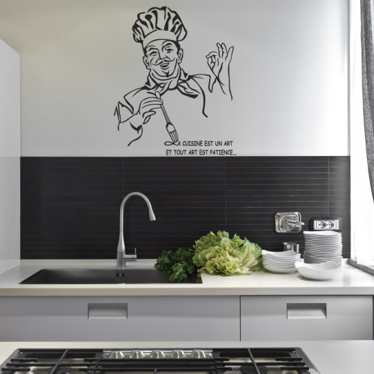 stickers citation chef cuisine des prix 50 moins cher qu 39 en magasin. Black Bedroom Furniture Sets. Home Design Ideas