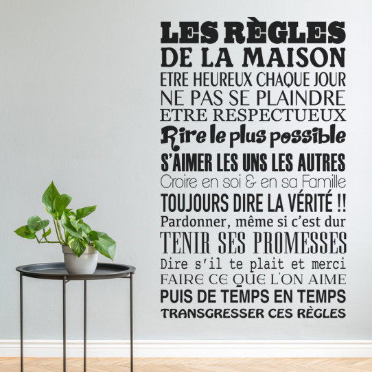 stickers citation les r gles de la maison des prix 50 moins cher qu 39 en magasin. Black Bedroom Furniture Sets. Home Design Ideas