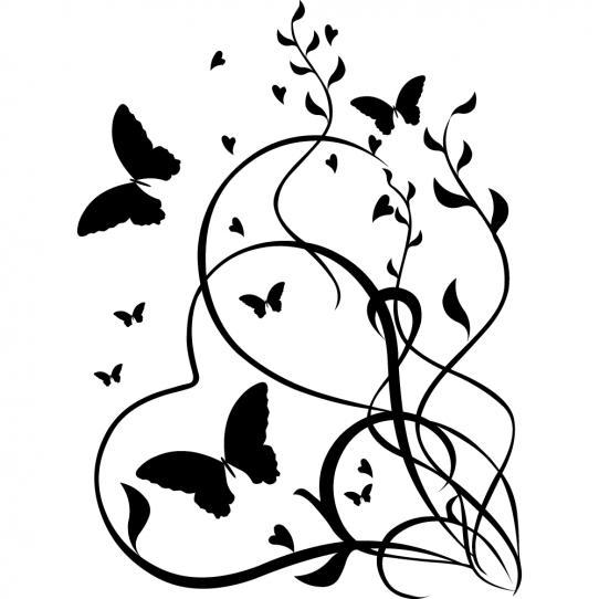 Stickers coeur papillon