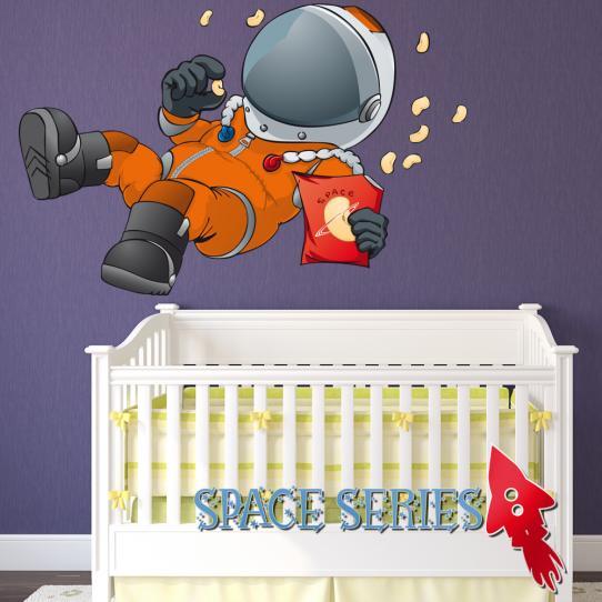 Autocollant Stickers muraux enfant cosmonaute en apesanteur