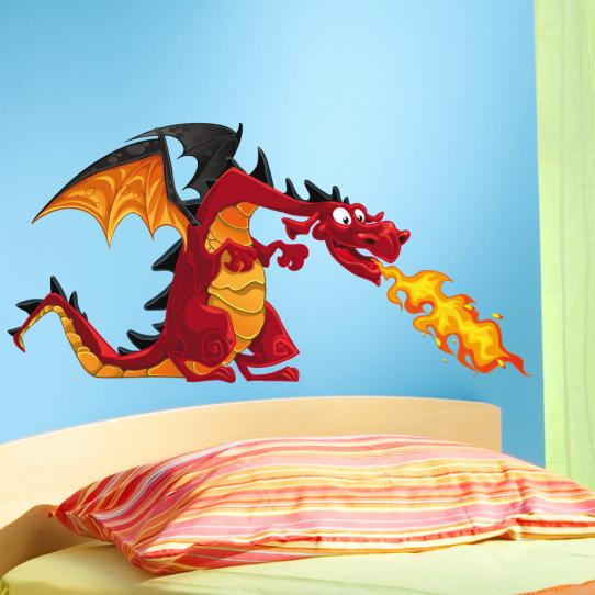 Autocollant Stickers mural enfant dragon