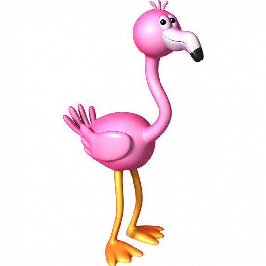 Stickers effet 3D- Flamant rose