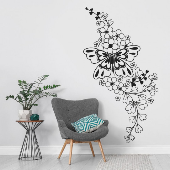 stickers fleur papillon asiatique