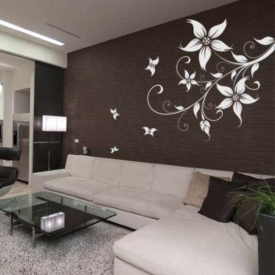 stickers fleur papillons des prix 50 moins cher qu 39 en magasin. Black Bedroom Furniture Sets. Home Design Ideas