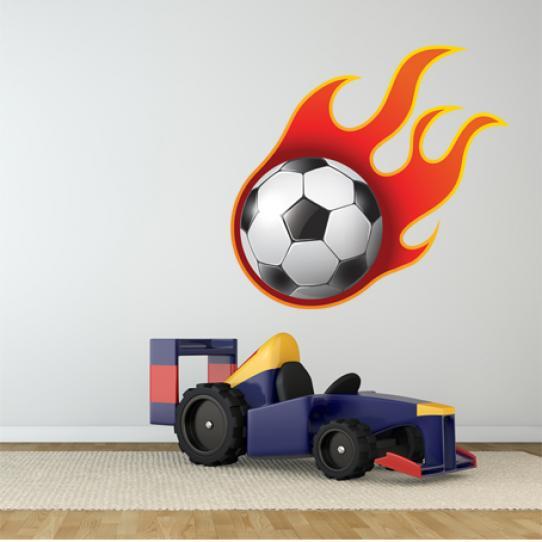 Stickers Foot ballon en feu