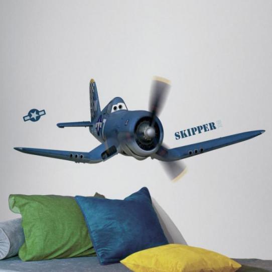 Stickers géant Skipper Riley Planes Disney - Des prix 50% moins cher ...