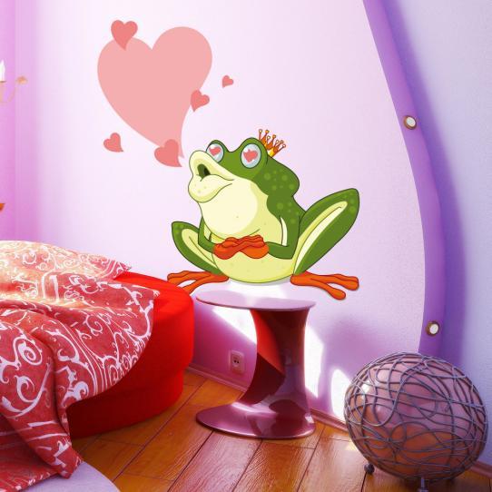 Autocollant Stickers mural enfant grenouille amoureuse