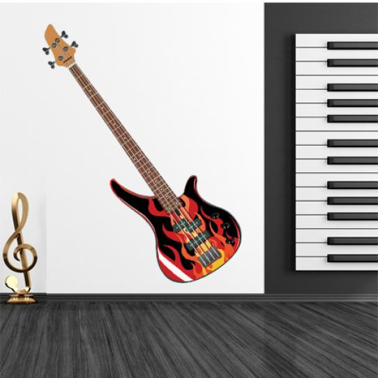 Stickers guitare flamme