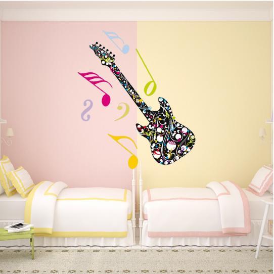 Stickers guitare notes de musique