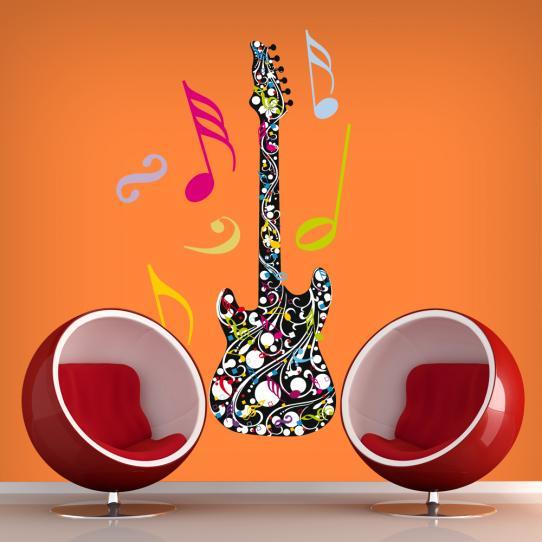 Autocollant Stickers muraux ado guitare multicolore