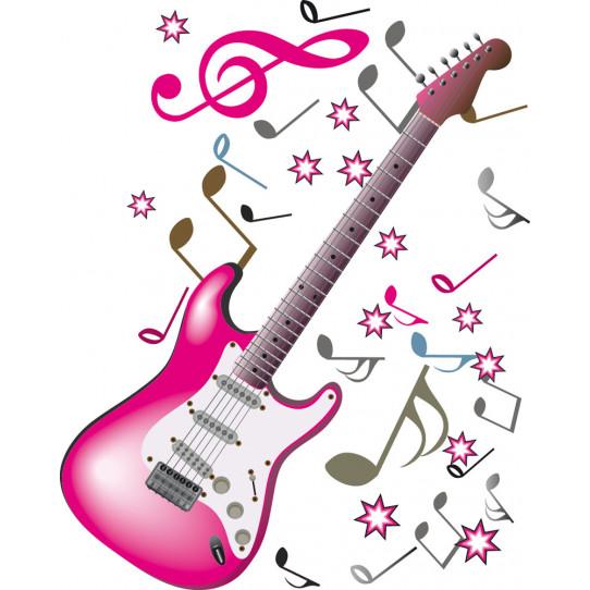 Stickers guitare notes de musique des prix 50 moins - Note musique dessin ...