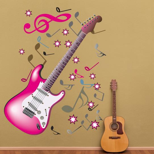 Autocollant Stickers mural ado guitarre note
