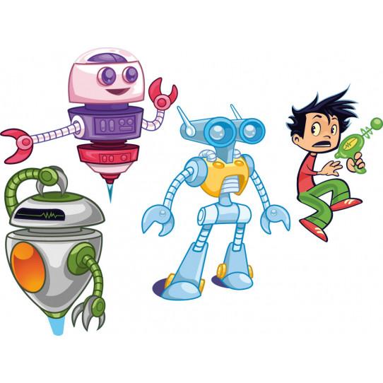 stickers kit 3 robots et enfant des prix 50 moins cher qu 39 en magasin. Black Bedroom Furniture Sets. Home Design Ideas