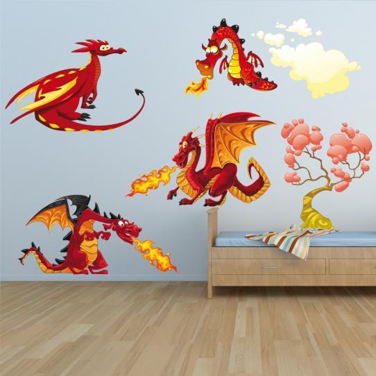 Autocollant Stickers mural enfant kit 4 dragons