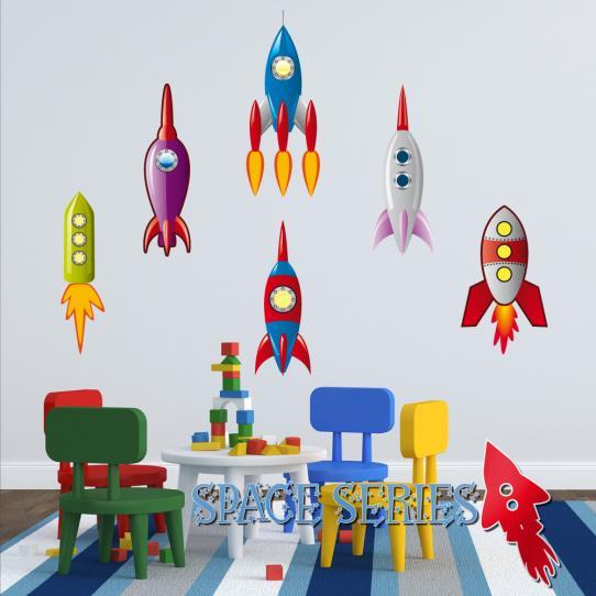 Autocollant Stickers muraux enfant kit 6 fusées