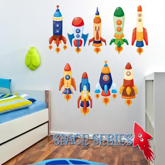 Autocollant Stickers mural enfant kit 9 fusées