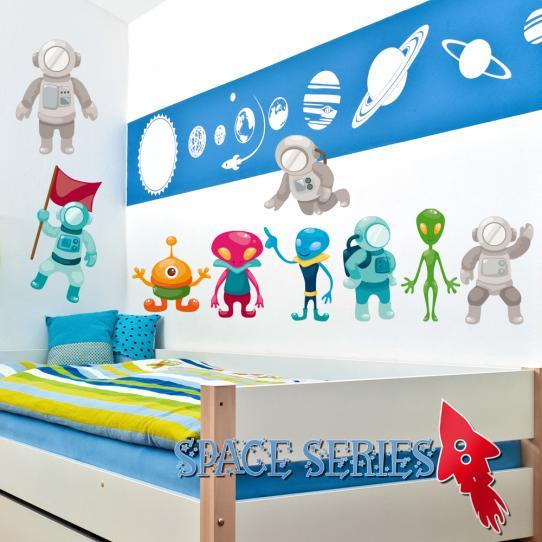 Autocollant Stickers muraux enfant kit 9 martiens et cosmonautes