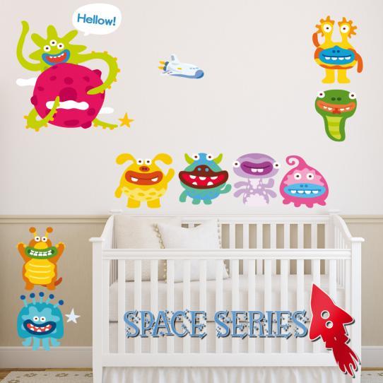 Autocollant Stickers mural enfant kit 9 monstres et 1 fusée