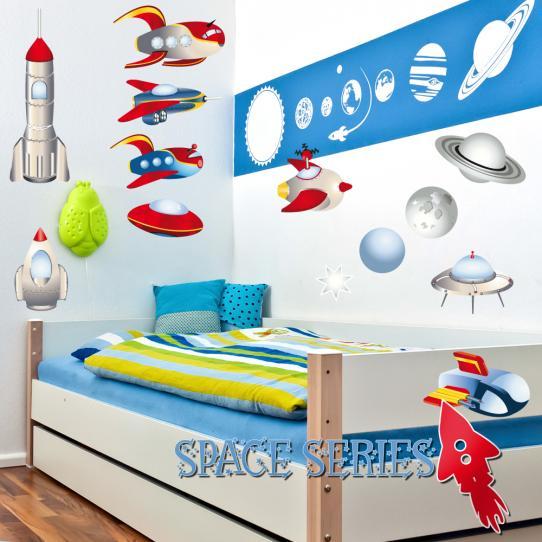 Autocollant Stickers muraux enfant kit 9 vaisseaux et 3 planétes