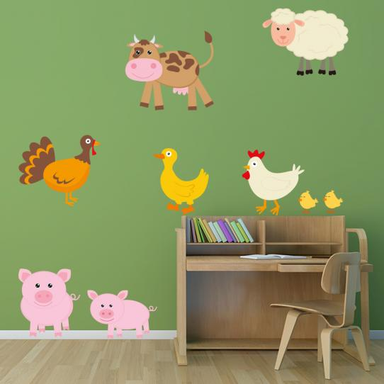 Autocollant Stickers muraux enfant  animaux de la ferme