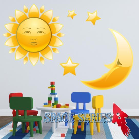 Autocollant Stickers mural enfant lune et soleil