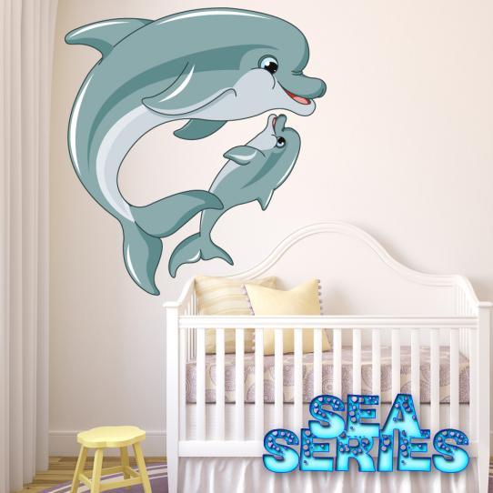 Autocollant Stickers mural enfant maman et bebe dauphin