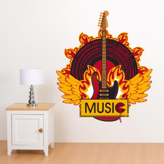 Autocollant Stickers muraux ado musique feu