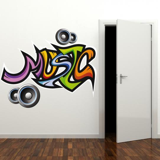 Autocollant Stickers mural ado musique multicolore