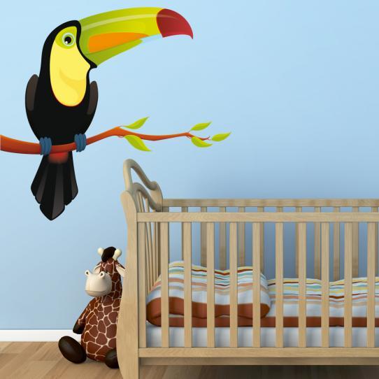 Autocollant Stickers muraux enfant oiseau branche toucan
