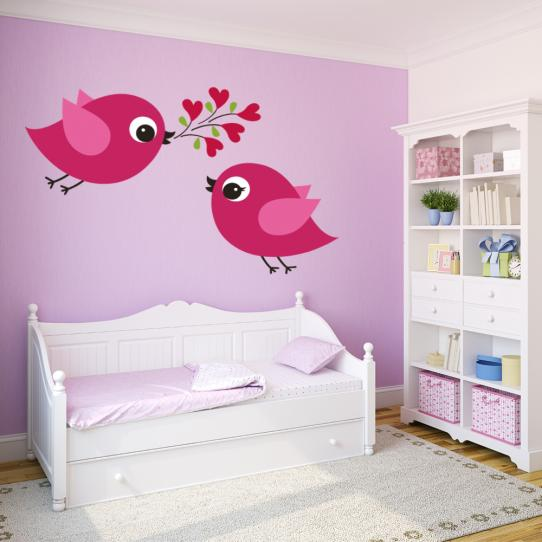Autocollant Stickers muraux enfant oiseaux amoureux