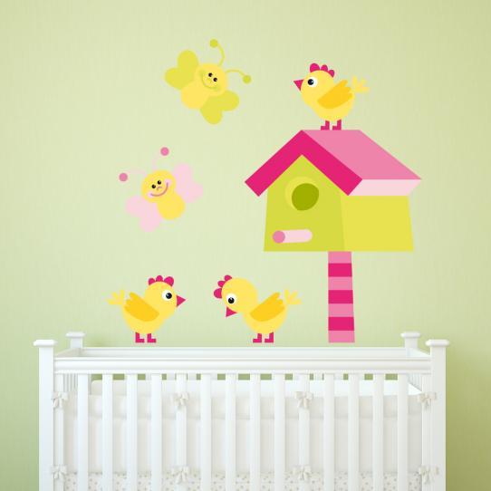 Autocollant Stickers mural enfant oiseaux papillons