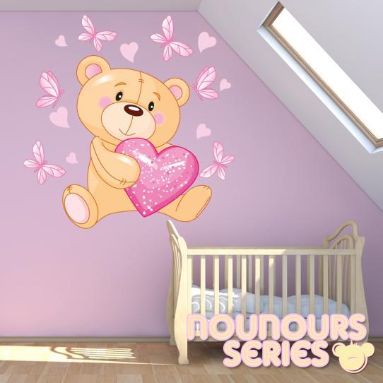 Autocollant Stickers enfant mural ourson coeur paillette