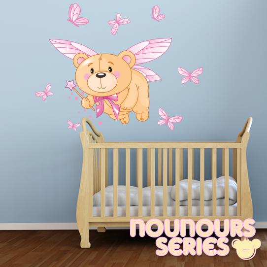 Autocollant Stickers mural enfant ourson fee