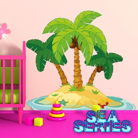 Autocollant Stickers mural enfant ilot palmier